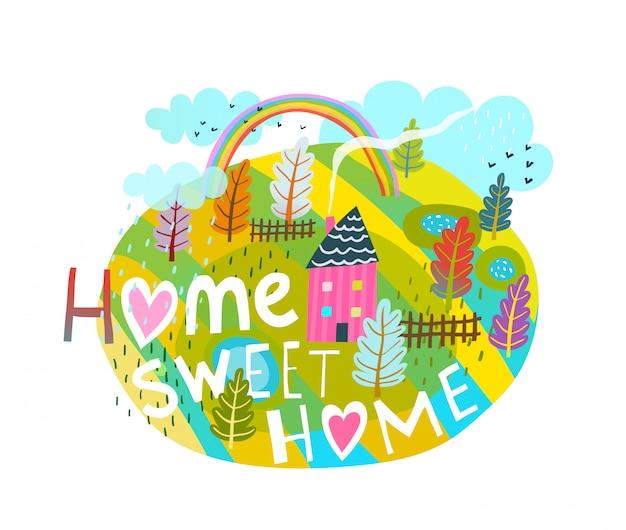 Projeto gráfico primitivo de casa doce casa letras