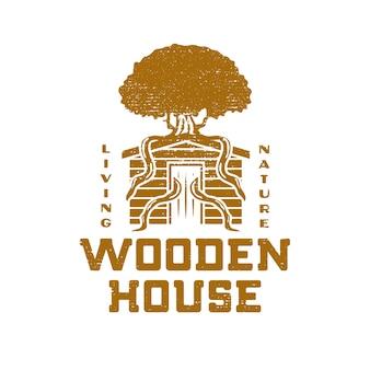 Projeto grunge de casa de madeira