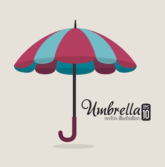 Projeto guarda-chuva sobre ilustração vetorial de fundo cinza