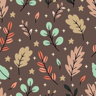 Projeto handdrawn padrão sem emenda com folhagem outonal. perfeito para têxteis, tecidos, papel de parede, scrapbooking e estampas.