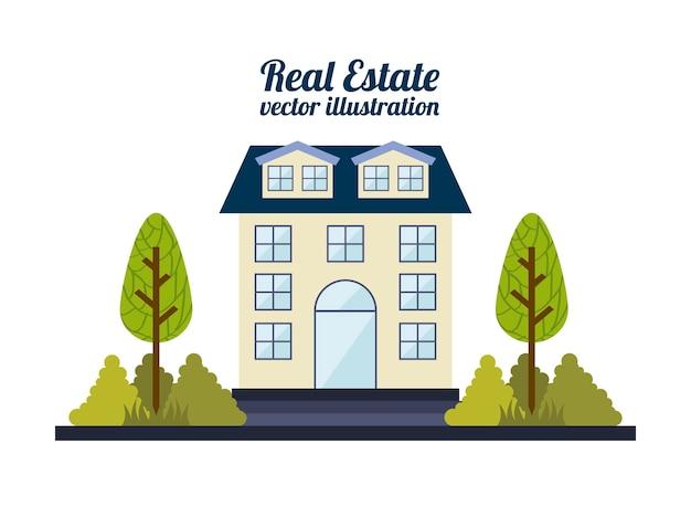 Projeto imobiliário sobre ilustração vetorial de fundo branco