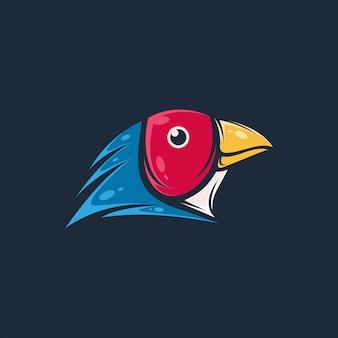 Projeto impressionante da ilustração do pássaro da cabeça