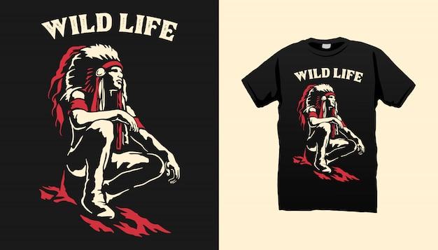 Projeto indiano do tshirt de apache