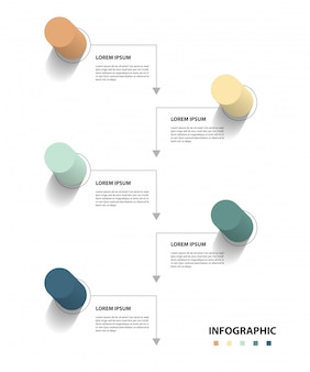 Projeto infográfico com 5 setp, conceito de negócio infográfico, fluxo, gráfico, apresentação