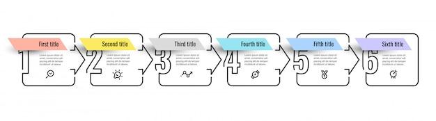 Projeto infográfico com 6 opções ou etapas. infográficos para o conceito de negócio.