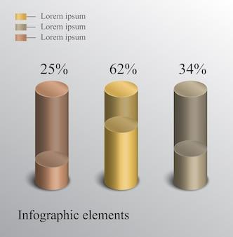 Projeto infográfico com cilindros 3d.