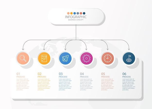 Projeto infográfico com ícones de linhas finas e 6 opções ou etapas para gráficos de informação, fluxogramas, apresentações, sites, banners, materiais impressos. conceito de negócio de infográficos.
