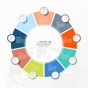 Projeto infográfico com ícones de linhas finas e 9 opções ou etapas para gráficos de informações, fluxogramas, apresentações, sites, banners, materiais impressos. conceito de negócio de infográficos.