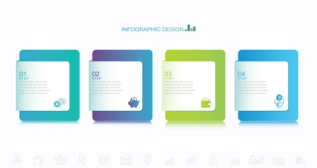 Projeto infográfico com ícones e 4 opções ou etapas vetor de linha fina