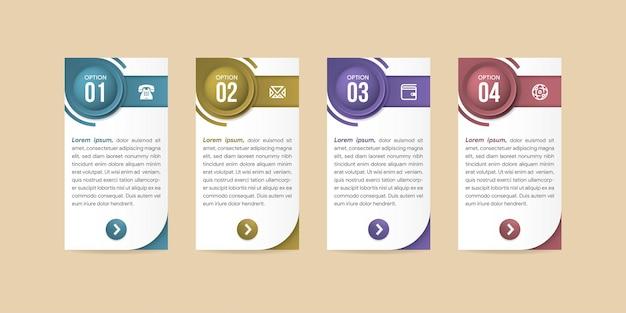 Projeto infográfico com ícones e 4 opções ou etapas