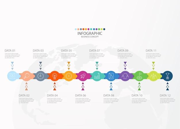 Projeto infográfico com linhas finas de doze opções ou etapas para gráficos de informação, fluxogramas, apresentações.