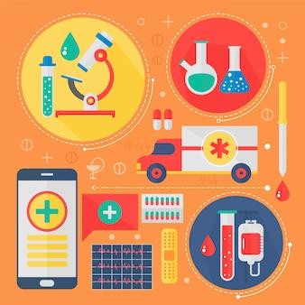 Projeto infográfico para medicina moderna e serviços de saúde