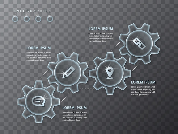 Projeto infográfico roda de engrenagem de vidro transparente e ícones