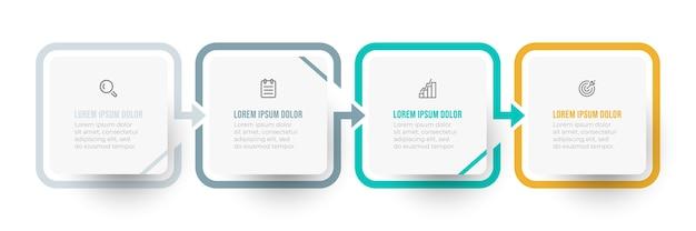 Projeto infográfico simples com seta e ícone. conceito de negócio com 4 opções ou etapas.