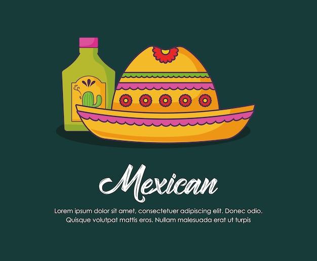 Projeto infographic com garrafa do tequila e chapéu mexicano sobre o fundo verde, projeto colorido.