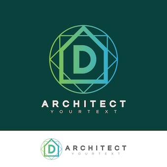 Projeto inicial do logotipo da letra d do arquiteto