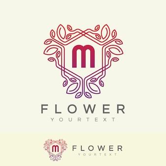 Projeto inicial do logotipo da letra m da flor