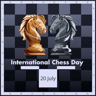 Projeto internacional da etiqueta da ilustração do vetor do dia da xadrez. 20 de julho.