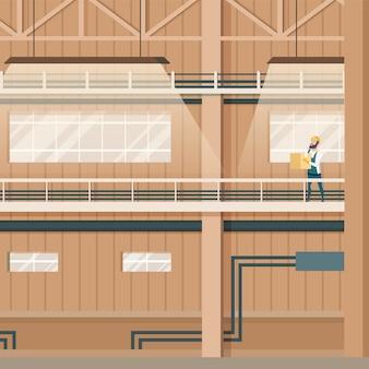 Projeto interno do armazém vazio da fábrica industrial