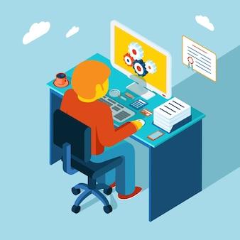 Projeto isométrico 3d plano. homem se senta no local de trabalho e trabalhando em um computador.
