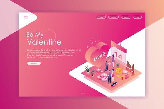 Projeto isométrico, aterrissando, página, dia valentine