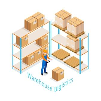 Projeto isométrico da logística do armazém