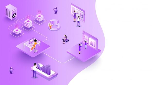 Projeto isométrico da plataforma de troca de moeda virtual.