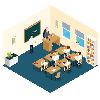 Projeto isométrico da sala de aula escolar