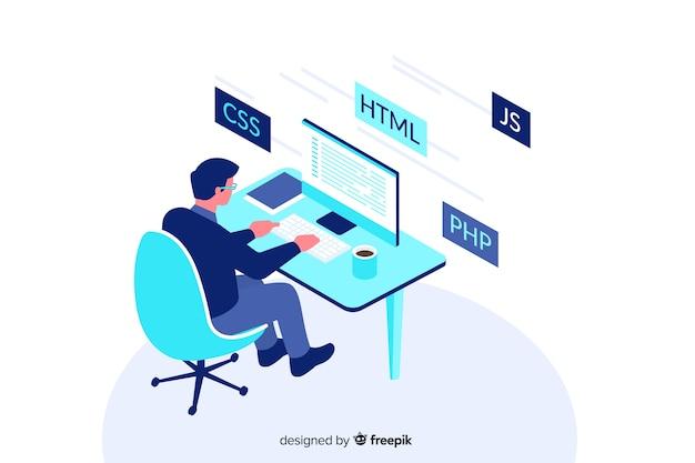 Projeto isométrico de ilustração decorativa de programador