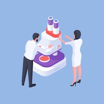 Projeto isométrico de ilustração vetorial com colegas do sexo masculino e feminino que trabalham no laboratório e usam microscópio para analisar amostras de drogas de laboratório