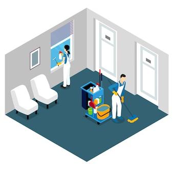 Projeto isométrico de limpeza profissional