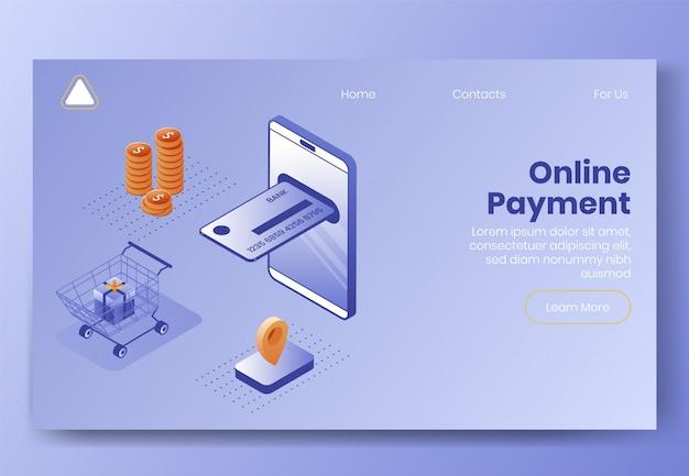 Projeto isométrico de pagamento digital