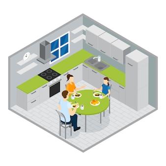 Projeto isométrico de refeição em família