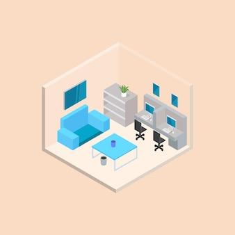 Projeto isométrico de vetor de sala de escritório corporativo