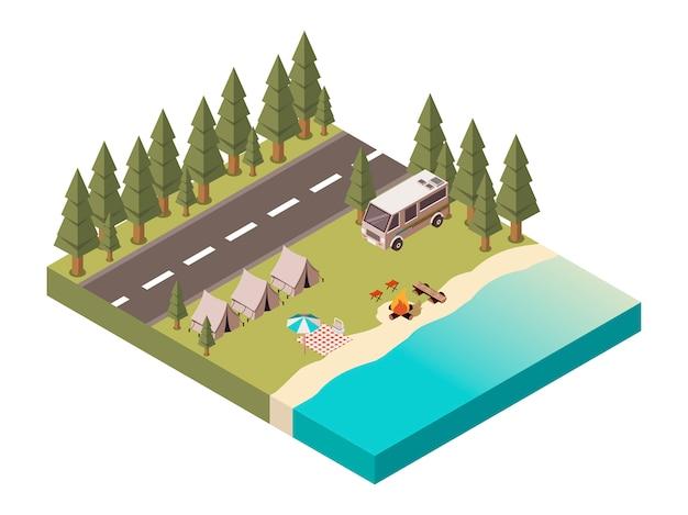 Projeto isométrico do acampamento