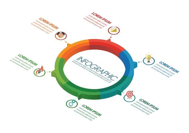 Projeto isométrico do círculo infográfico. ilustração vetorial