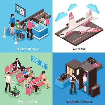 Projeto isométrico do conceito de partida de aeroporto