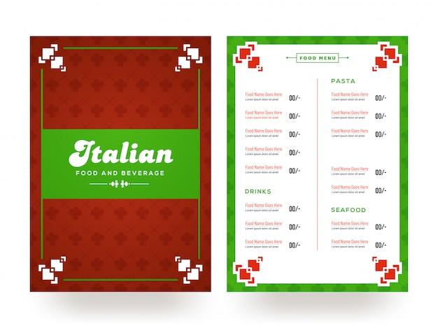 Projeto italiano do cartão do menu do alimento e da bebida.