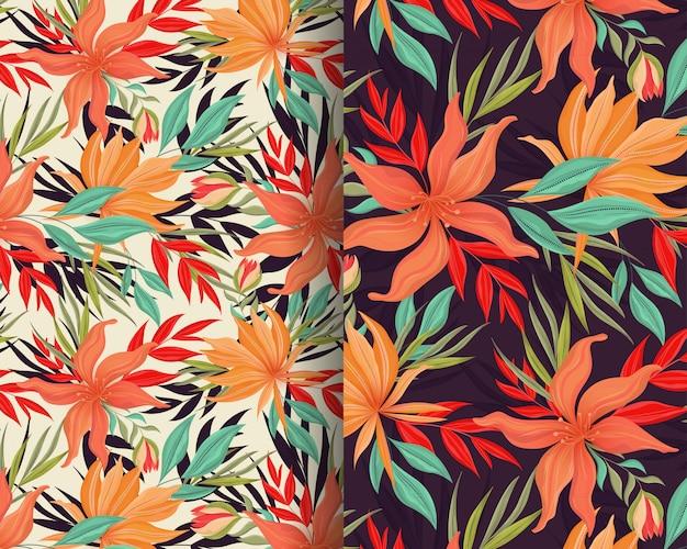 Projeto laranja padrão de flor selvagem