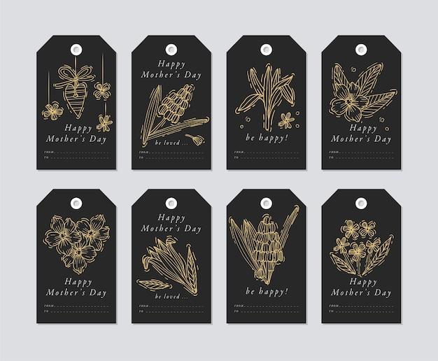 Projeto linear para elementos de saudações do dia das mães em fundo de obscuridade. tags de férias de primavera com tipografia e ícone dourado.