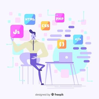 Projeto liso da ilustração decorativa do programador