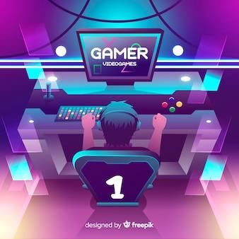 Projeto liso da ilustração do gamer de néon