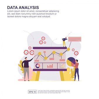 Projeto liso da ilustração do vetor do conceito da análise de dados.
