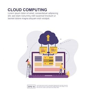 Projeto liso da ilustração do vetor do conceito da computação da nuvem.