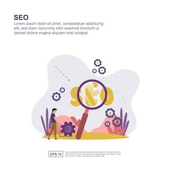 Projeto liso da ilustração do vetor do conceito da otimização do search engine.