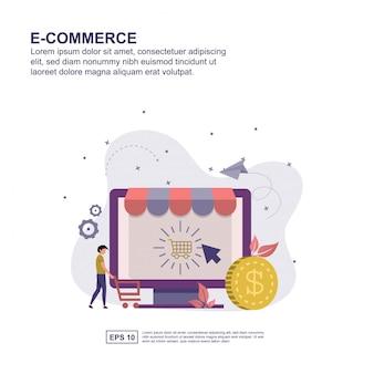 Projeto liso da ilustração do vetor do conceito do comércio eletrônico.
