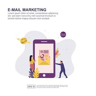 Projeto liso da ilustração do vetor do conceito do mercado do email.