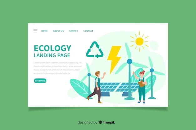 Projeto liso da página de aterrissagem da ecologia