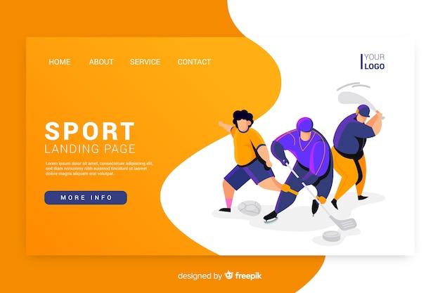 Projeto liso da página de aterrissagem do esporte