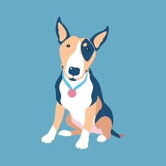 Projeto liso do ícone do cão bull terrier preto e marrom